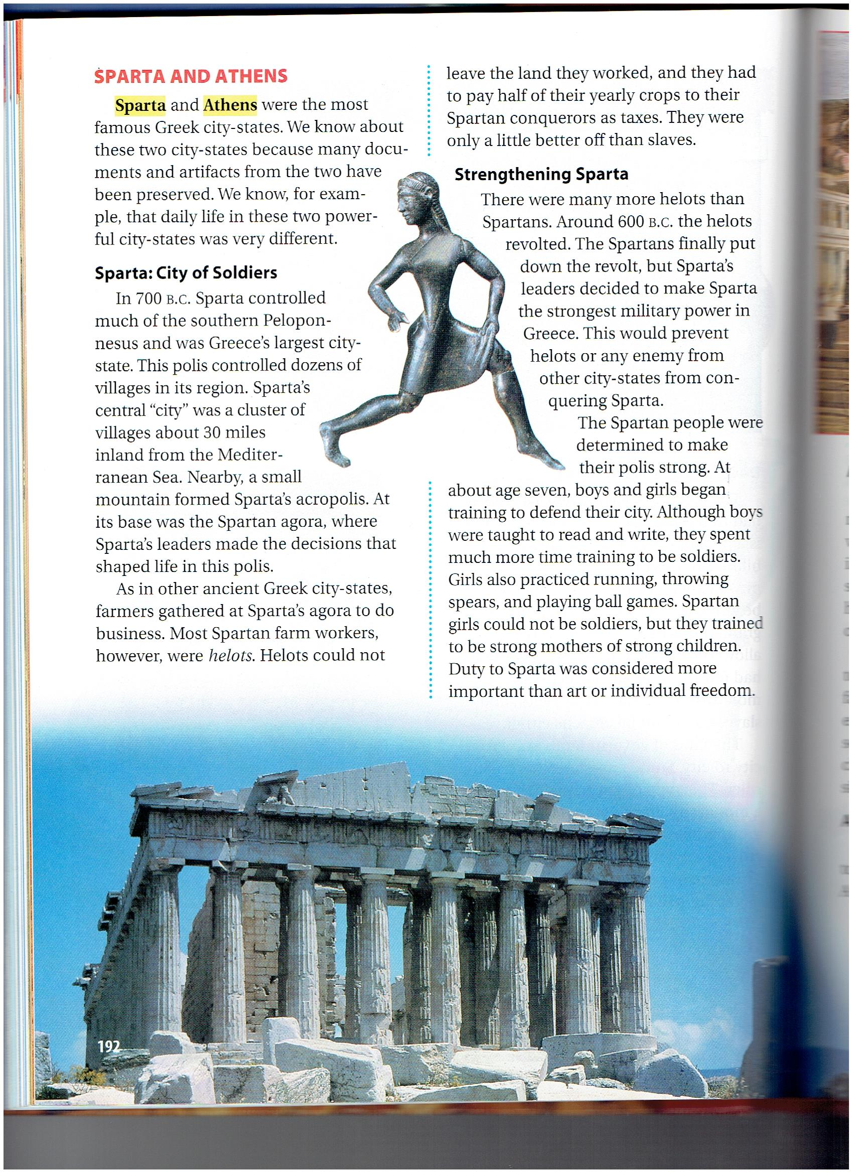an analysis of athens and sparta both city states in greece in ancient times Sparta and athens during different times in city-states in ancient greece  of the ancient period thebes and argos were both.